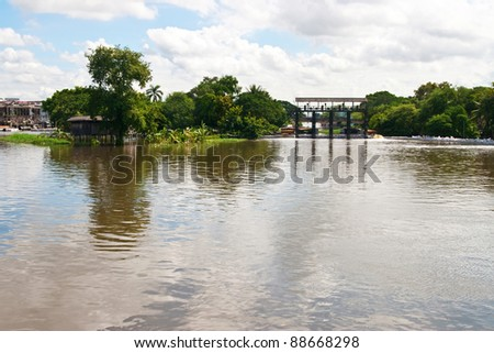 Water gate and blue sky - stock photo