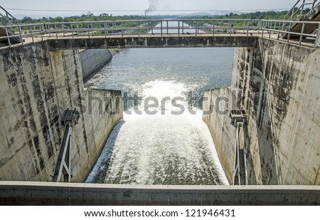 Water gate of dam - stock photo