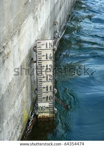 Water gauge in the river - stock photo
