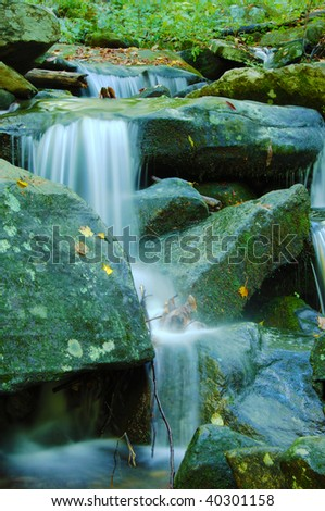 Water gently falling over rocks in the Smoky Mountains.