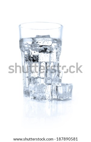 water glass and ice  - stock photo