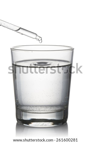 water glass filled with dropper, on white background - stock photo
