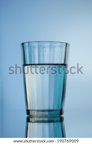 Water glass isolated on blue background