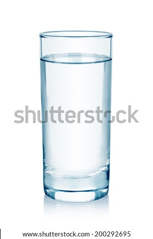 water glass isolated on white - stock photo