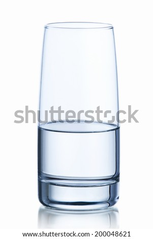 water glass isolated with reflection - stock photo