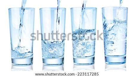 water glass on a white background  - stock photo