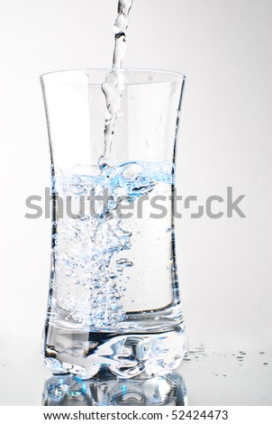 Water glass on a white background