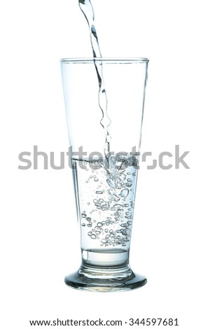 water glass , water splash in glasses on white background