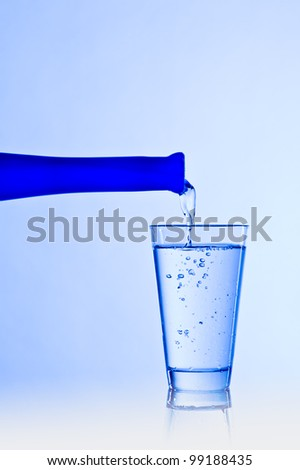 Water glass with a blue bottle
