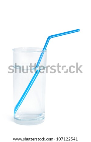 Water glass with a blue straw on white background