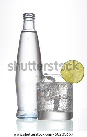 water glass with band lemon slice - stock photo