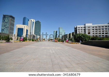 WATER-GREEN BOULEVARD, ASTANA, KAZAKHSTAN CIRCA JULY, 2015: View high-rise buildings on the water-green boulevard.