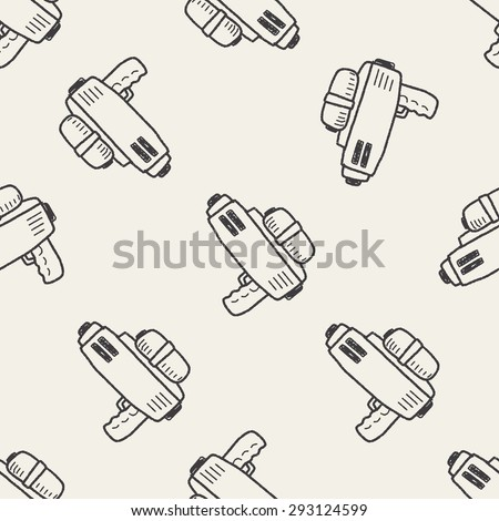 water gun doodle seamless pattern background