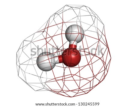 Water (H2O), molecular model. Atoms are represented as spheres with conventional color coding: hydrogen (white), oxygen (red) - stock photo