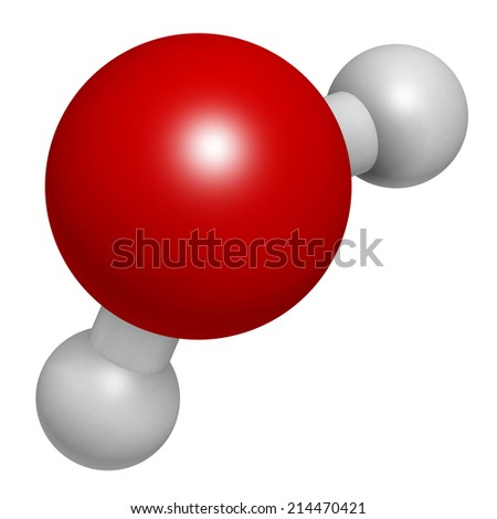 Water (H2O) molecule. Atoms are represented as spheres with conventional color coding: hydrogen (white), oxygen (red). - stock photo