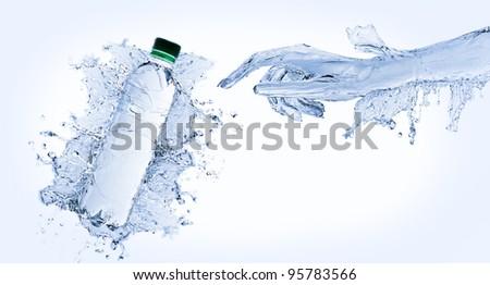 Water hand - stock photo