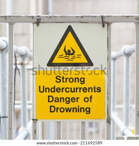 Water hazard signs, strong undercurrents, danger of drowning - stock photo