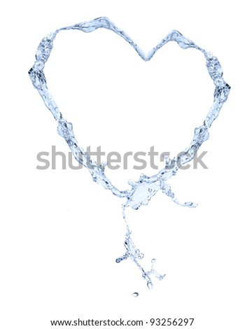 Water heart isolated on white background