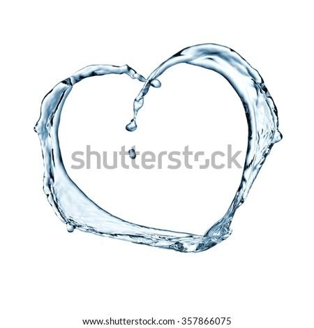 Water heart splash - stock photo