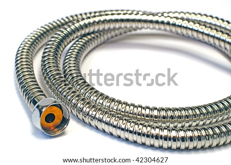 Water hose isolated on the white background,chrome plated shower pipe - stock photo
