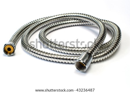 Water hose isolated on white background,chrome plated shower pipe - stock photo