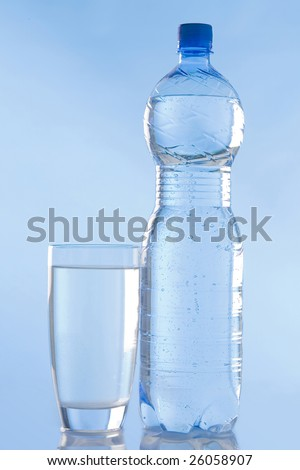 water in a glass and a bottle
