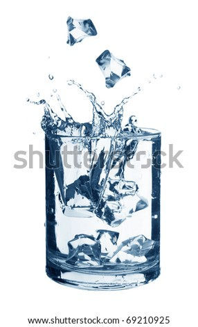 water in a glass with ice isolated on white background - stock photo