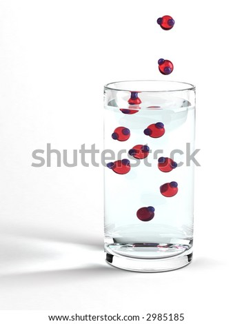 Water in a glass with oversized H2O molecules. Photorealistic 3D Rendering with advanced refractions, reflections and caustics. - stock photo