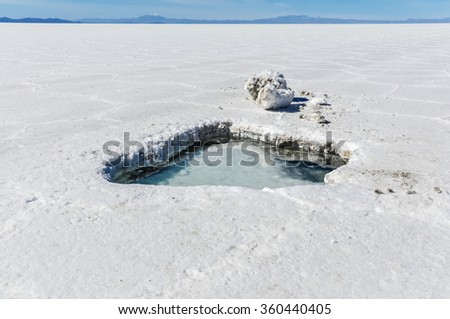 Water in a hole in Salar de Uyuni, the biggest salt flat in the world, Bolivia