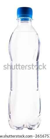 water in a plastic bottle isolated on a white background - stock photo