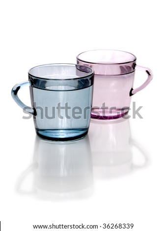 water in colored cups