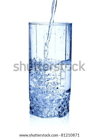 Water in glass isolated on white
