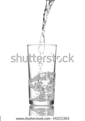 Water in glass isolated on white background - stock photo