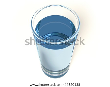 water in glass on white