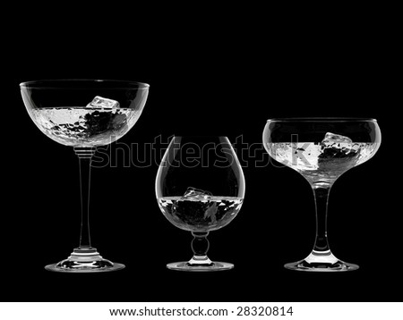Water in glass with ice