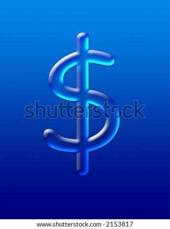 Water in shape of U.S. dollar symbol - stock photo