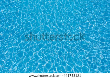 Water in swimming pool, Blue Water surface with sun reflection, Beautiful Blue and Bright ripple water surface - stock photo
