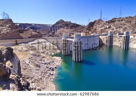 Water intake towers at Hoover Dam, Nevada / Arizona border - stock photo