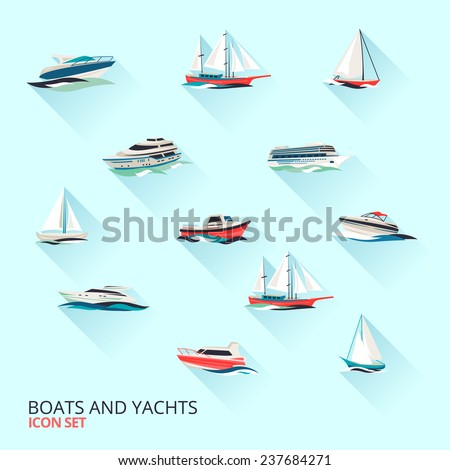 Water jet speed motor boats and yacht navigation sport template flat shadow pictograms set  isolated illustration - stock photo