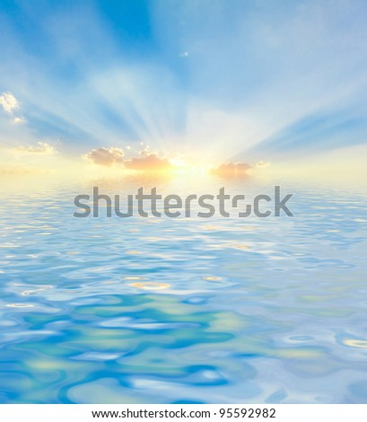 Water Landscape  Lighted Clouds