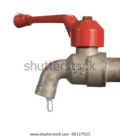 Water leaking from old metal tap isolated on white background - stock photo