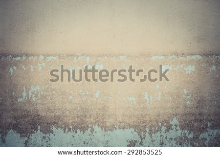 Water level stain pattern after flood on wall house in Thailand - stock photo
