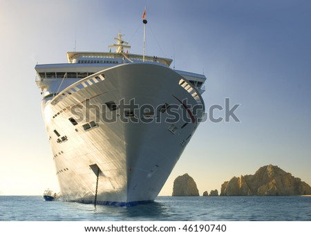 Water level view of cruise ship. Cabo San Lucas. Mexico - stock photo