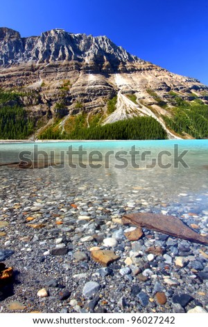 Water Level View of Peyto Lake in Banff National Park - Canada - stock photo