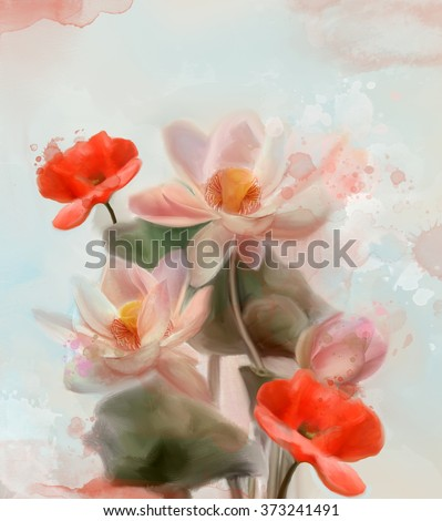 Water lilies and poppies - Watercolor painting - stock photo