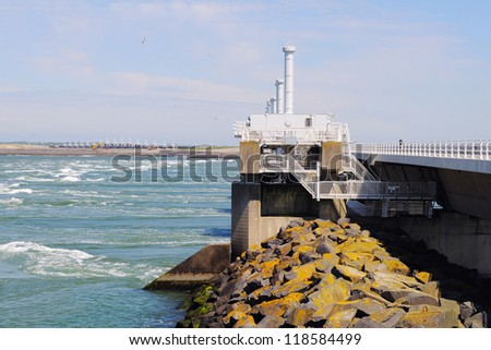 water management. storm barrier Neeltje Jans - stock photo
