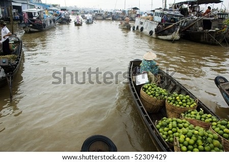 water market in Mekong Delta, South of Vietnam, Asia - stock photo