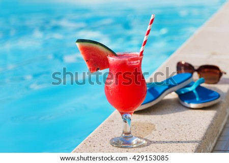 Fresh glass watermelon smoothie drink sunglasses stock photo 520194193 shutterstock How to make swimming pool water drinkable
