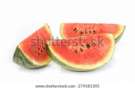 water melon slice isolated on white background . - stock photo