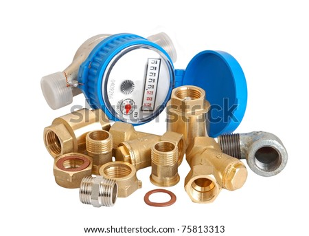 Water meter and inlet valve, isolated on white background - stock photo